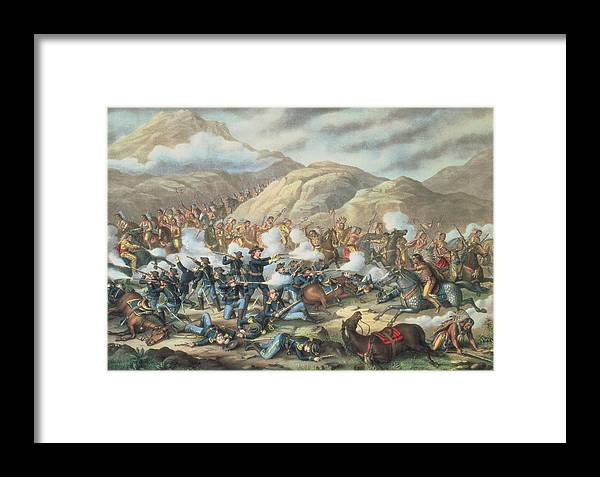 Custer's Last Stand Framed Print featuring the painting The Battle Of Little Big Horn, June 25th 1876 by American School