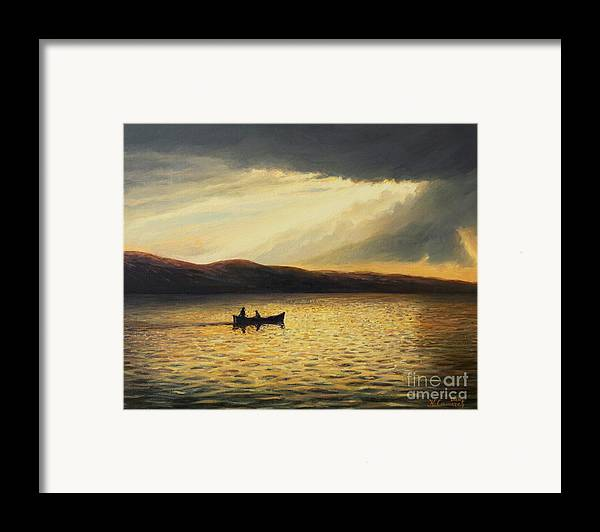 Nature Framed Print featuring the painting The Bay Of Silence by Kiril Stanchev
