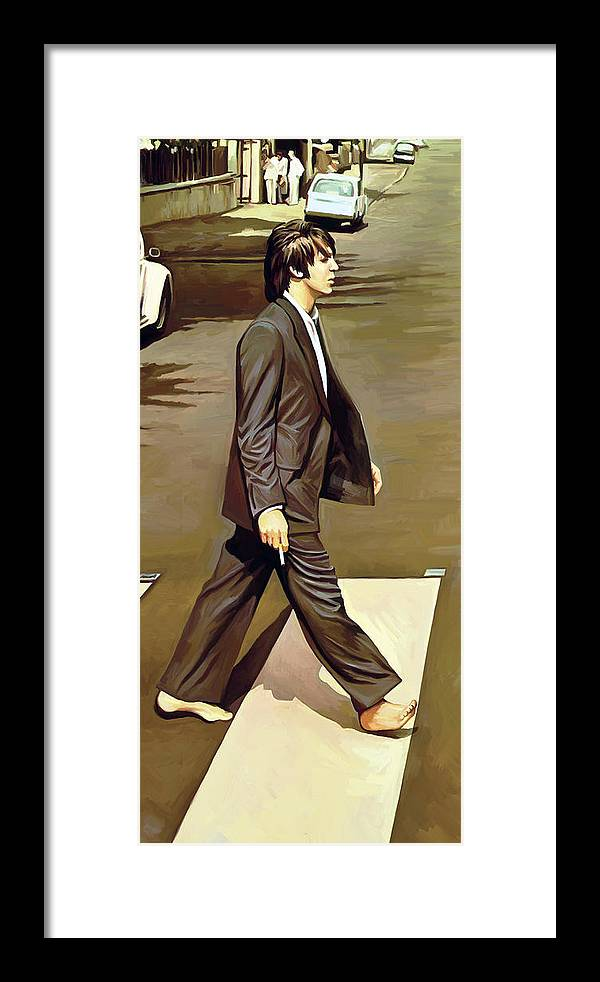 The Beatles Abbey Road Paintings Framed Print featuring the painting The Beatles Abbey Road Artwork Part 2 of 4 by Sheraz A