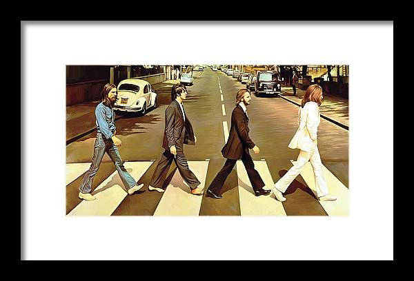 The Beatles Abbey Road Paintings Framed Print featuring the painting The Beatles Abbey Road Artwork by Sheraz A