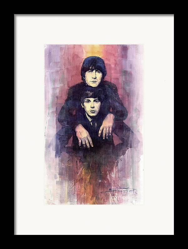 Watercolour Framed Print featuring the painting The Beatles John Lennon And Paul Mccartney by Yuriy Shevchuk