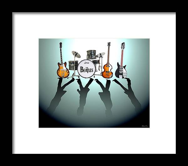 The Beatles Framed Print featuring the digital art The Beatles by Yelena Day