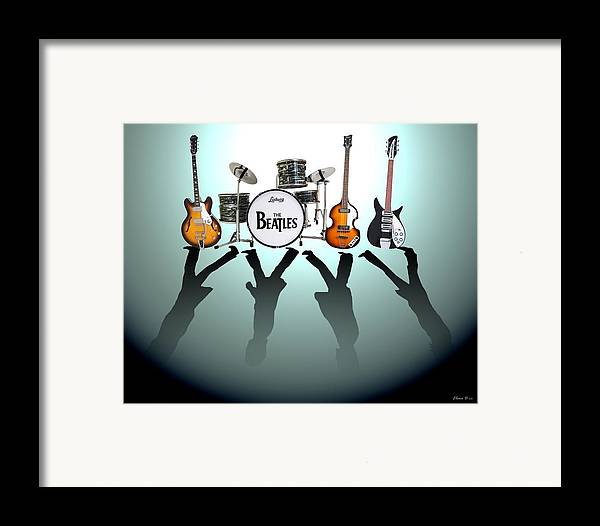 The Beatles Framed Print featuring the digital art The Beatles by Lena Day