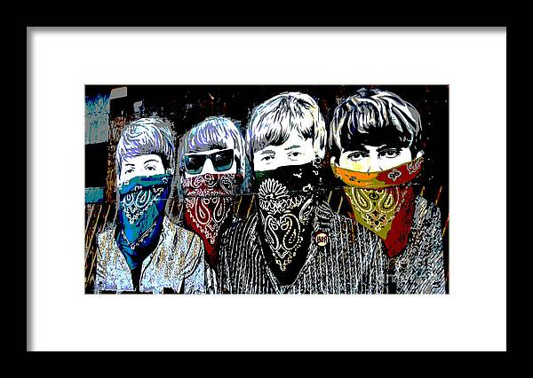 Banksy Framed Print featuring the photograph The Beatles wearing face masks by RicardMN Photography