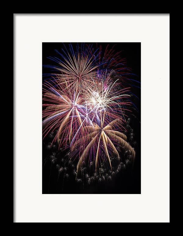 Awesome Fireworks Lights Up The Darkness Framed Print featuring the photograph The Beauty Of Fireworks by Garry Gay