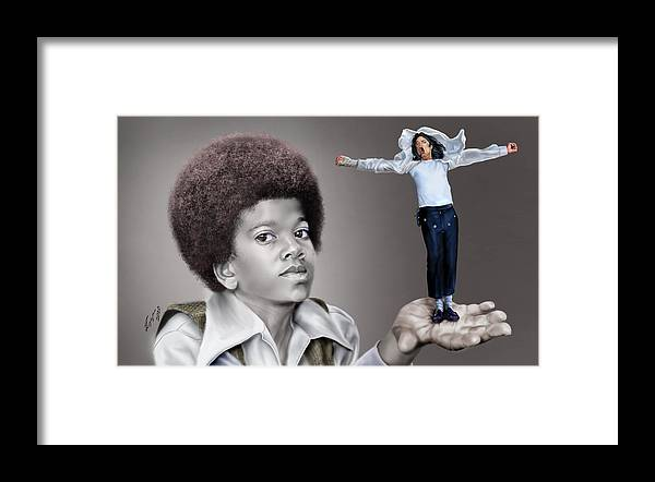 Young Michael Jackson Framed Print featuring the painting The Best of Me - Handle With Care - Michael Jacksons by Reggie Duffie
