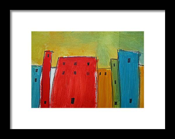 Skyline Framed Print featuring the painting The Big City by Rhodes Rumsey
