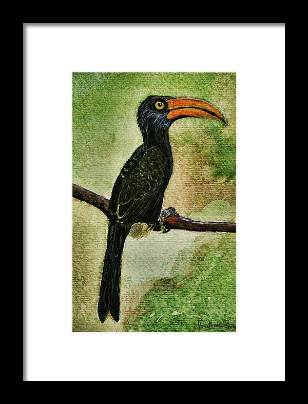Black Green Bird Indigo Orange Brown White Yellow Framed Print featuring the painting The Bird by Vineeth Menon