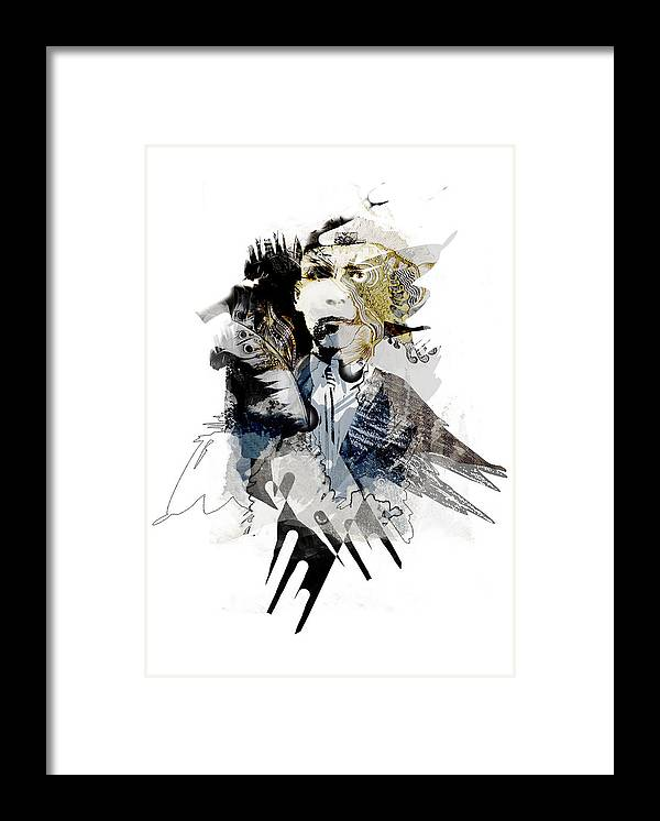 Collage Digital Framed Print featuring the digital art The birdman by Aniko Hencz