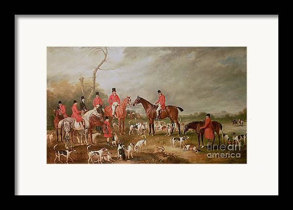 Landscape Framed Print featuring the painting The Birton Hunt by John E Ferneley