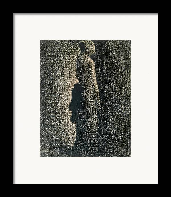 Ribbon Framed Print featuring the drawing The Black Bow by Georges Pierre Seurat