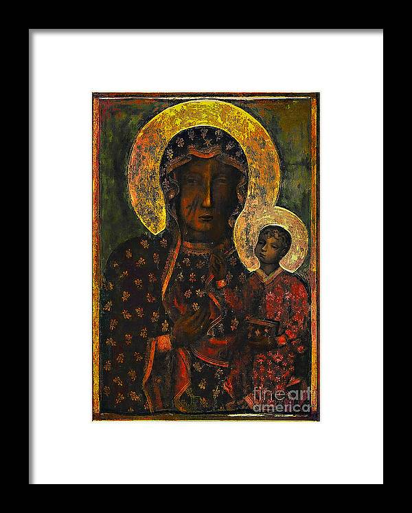 Poland Framed Print featuring the painting The Black Madonna by Andrzej Szczerski