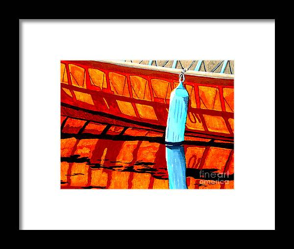 Canoe Framed Print featuring the painting The Blue Fender by Anthony Dunphy