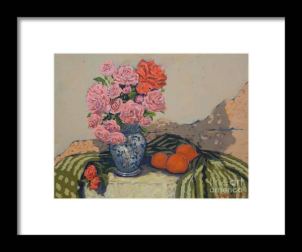 Still Life Arrangements Framed Print featuring the painting The Blue Vase by Monica Caballero