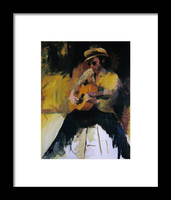 Man Framed Print featuring the painting The Blues Man by John L Campbell