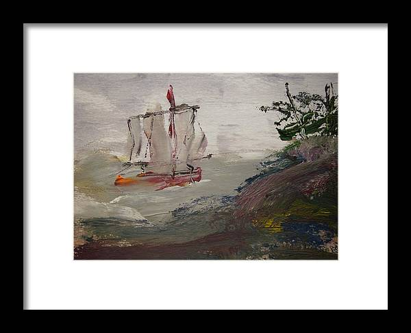 Sail Framed Print featuring the painting The Bold Wind by Edward Wolverton