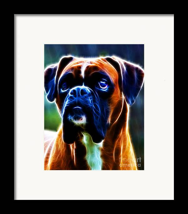 Animal Framed Print featuring the photograph The Boxer - Electric by Wingsdomain Art and Photography