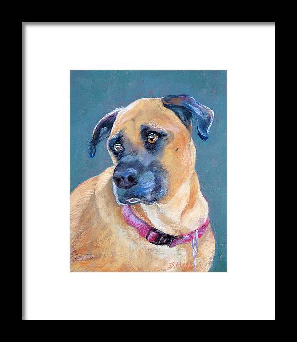 Bailey Framed Print featuring the pastel Bailey by Julie Maas