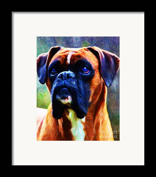 Animal Framed Print featuring the photograph The Boxer - Painterly by Wingsdomain Art and Photography