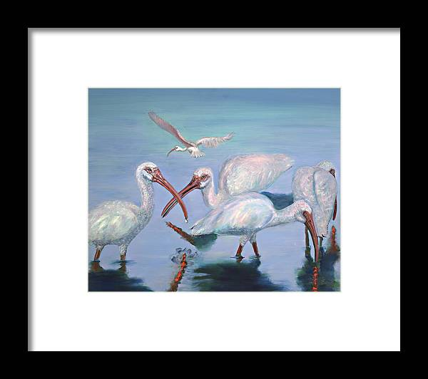 Water Fowl Framed Print featuring the painting The Boyz by Peter Bonk