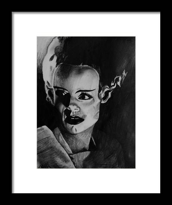 Bride Frankenstein Elsa Lanchester Horror Universal Movie Framed Print featuring the drawing The Bride 3 by Jeremy Moore