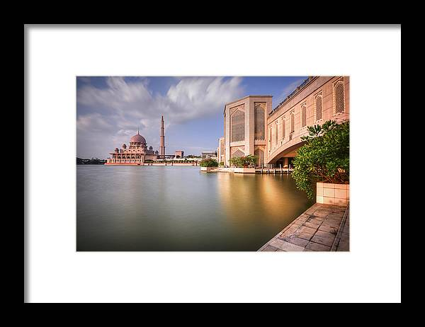 Tranquility Framed Print featuring the photograph The Bridge And The Mosque by Khasif Photography