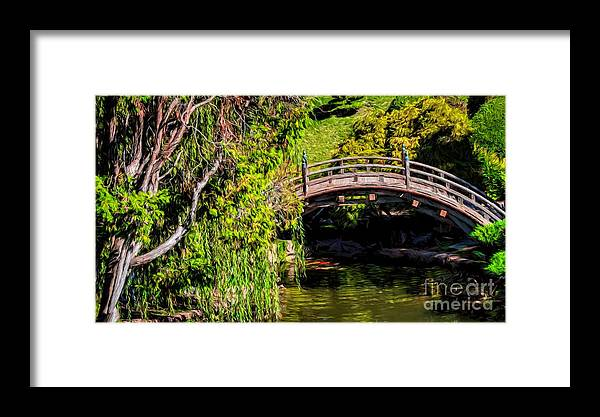 Bridge Framed Print featuring the photograph The Bridge In The Japanese Garden by Peggy Hughes