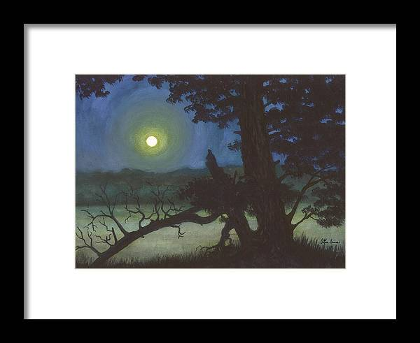 Moon Framed Print featuring the painting The Broken Tree by Arthur Barnes