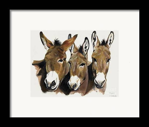 Donkeys Framed Print featuring the painting The Brothers Three by Suzanne Schaefer