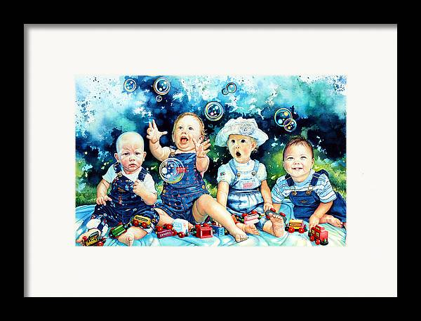 Child Portrait Framed Print featuring the painting The Bubble Gang by Hanne Lore Koehler