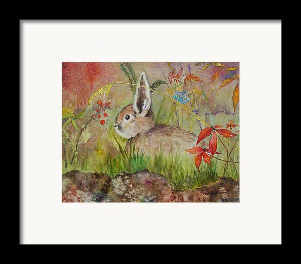Nature Framed Print featuring the painting The Bunny by Mary Ellen Mueller Legault