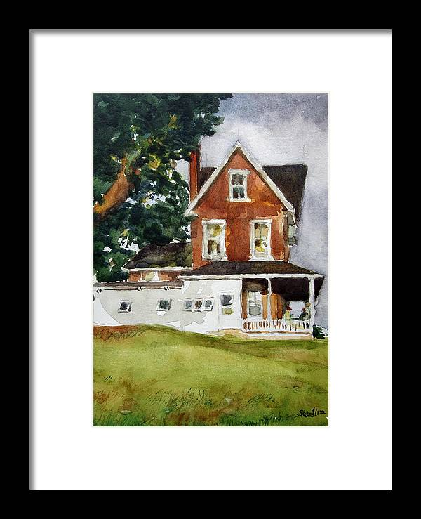 Old Farmhouse Built In 1800's Framed Print featuring the painting The Burchams Home by Judith Scull