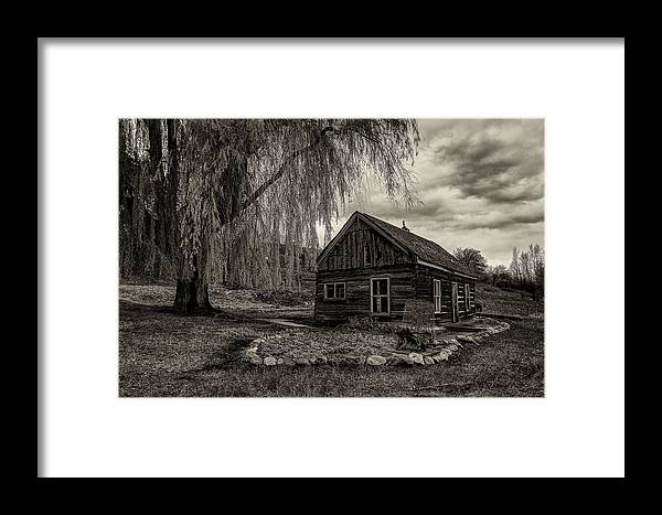 Black And White Framed Print featuring the photograph The Cabin by Christian Peay