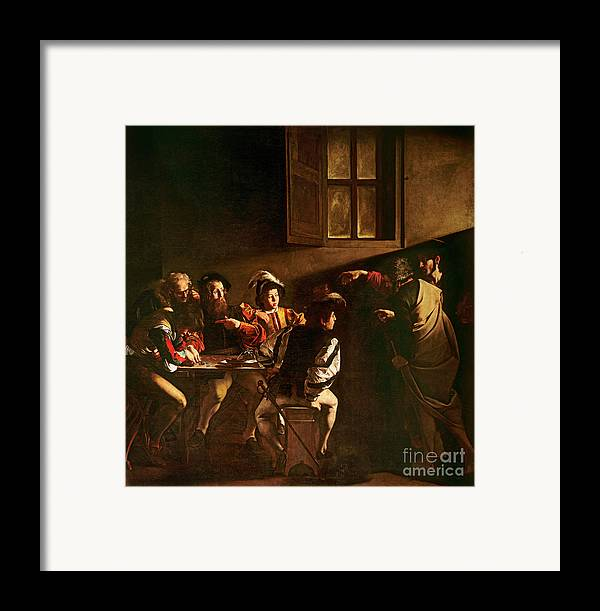 Chiaroscuro Framed Print featuring the painting The Calling Of St Matthew by Michelangelo Merisi o Amerighi da Caravaggio