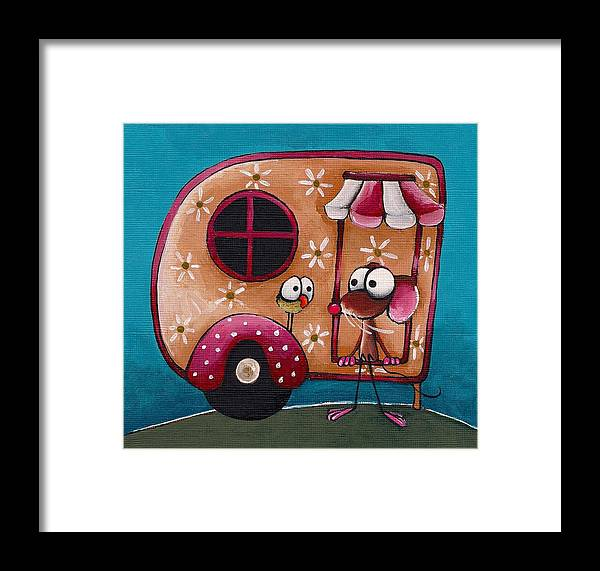 Whimsical Framed Print featuring the painting The Camper Van by Lucia Stewart