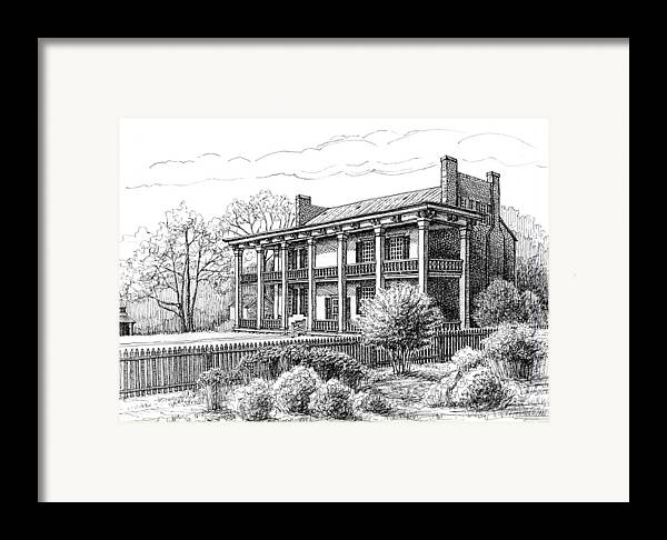 Carnton Plantation Framed Print featuring the drawing The Carnton Plantation In Franklin Tennessee by Janet King