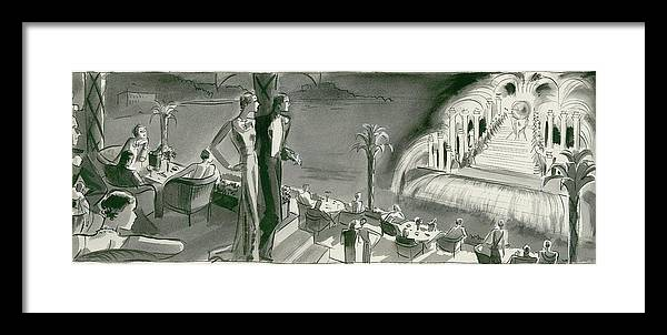 Dining Room Framed Print featuring the digital art The Casino Terrace At Monte Carlo by Herbert Libiszewski