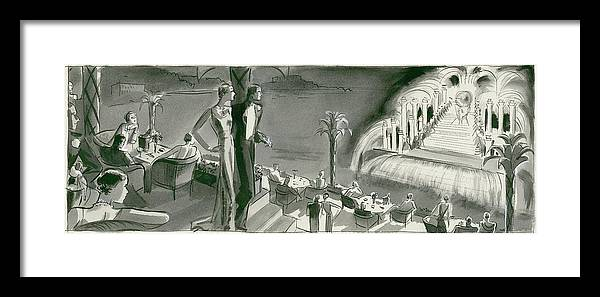 Dining Room Framed Print featuring the digital art The Casino Terrace At Monte Carlo by Herbert Libiszewski