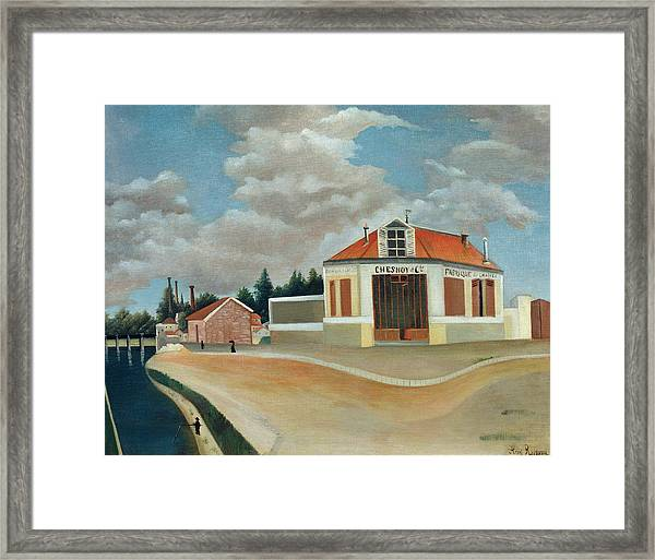 Parisian Suburbs Framed Print featuring the painting The Chair Factory At Alfortville by Henri Rousseau & The Chair Factory At Alfortville Framed Print by Henri Rousseau