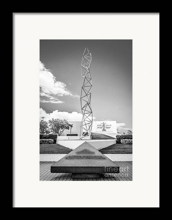 America Framed Print featuring the photograph The Challenger Memorial 2 - Bayfront Park - Miami - Black And White by Ian Monk