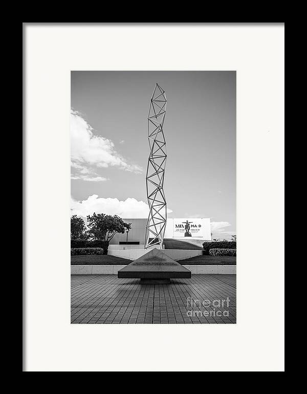 America Framed Print featuring the photograph The Challenger Memorial - Bayfront Park - Miami - Black And White by Ian Monk