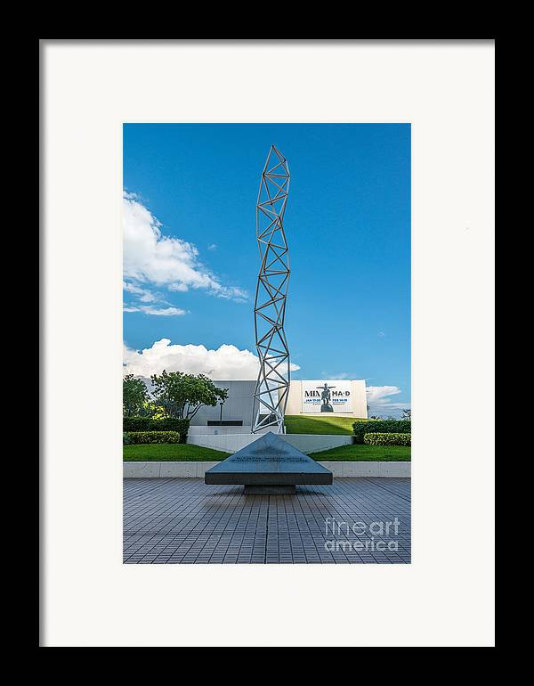 America Framed Print featuring the photograph The Challenger Memorial - Bayfront Park - Miami by Ian Monk