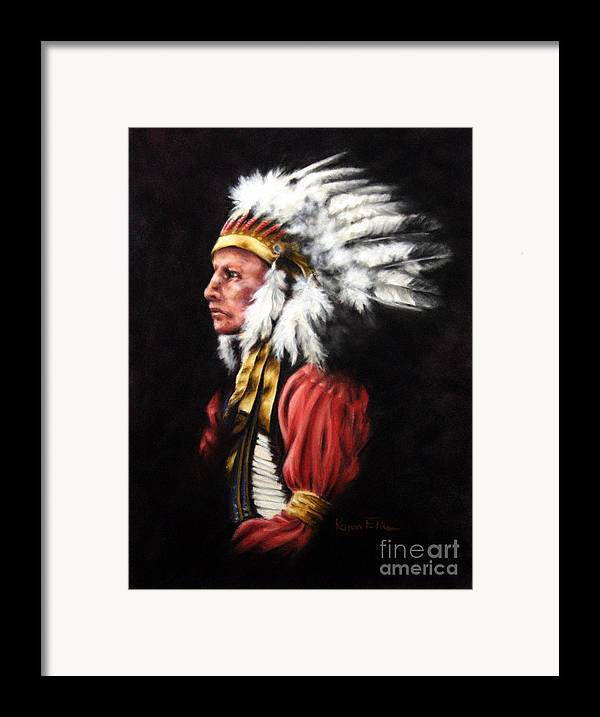 Native American Framed Print featuring the pastel The Chief 2 by Karen Elkan