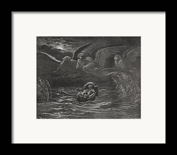Baby Framed Print featuring the painting The Child Moses On The Nile by Gustave Dore