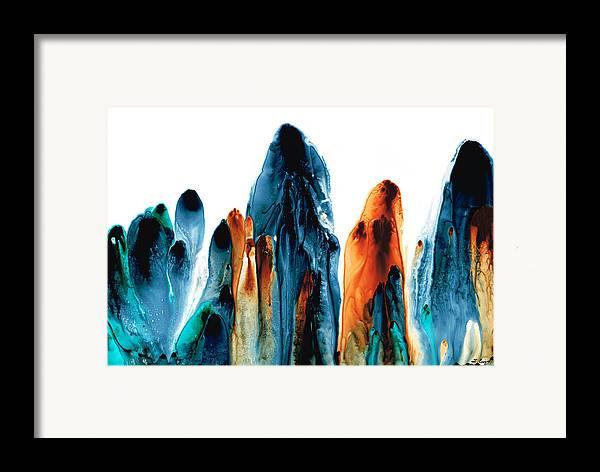Gray Framed Print featuring the painting The Chosen Ones - Emotive Abstract Painting by Sharon Cummings