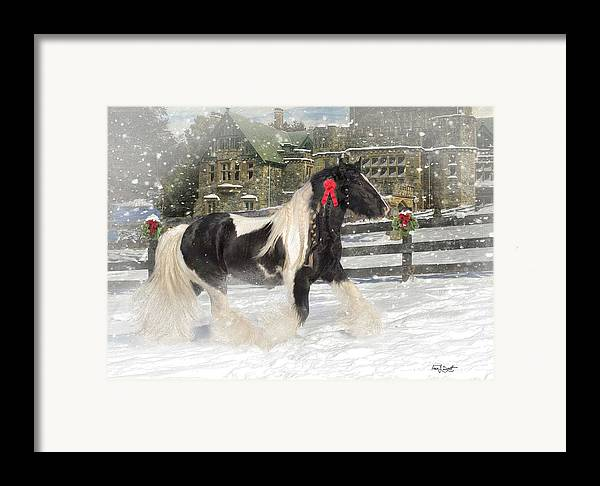 Christmas Framed Print featuring the mixed media The Christmas Pony by Fran J Scott