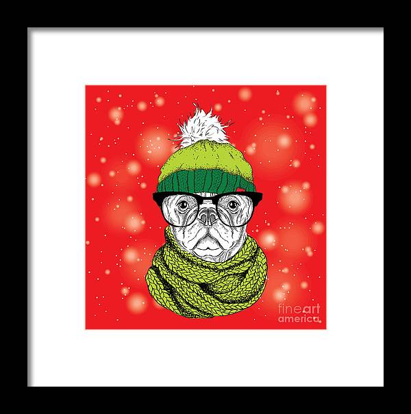 Cunning Framed Print featuring the digital art The Christmas Poster With The Image Dog by Sunny Whale
