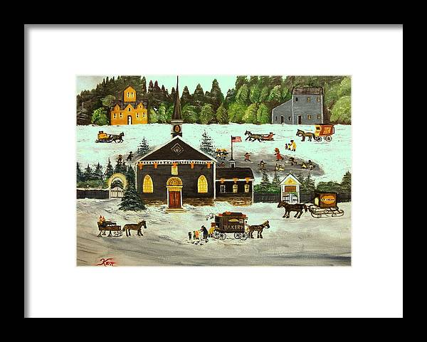 Folk Art Framed Print featuring the painting The Church by Kenneth LePoidevin