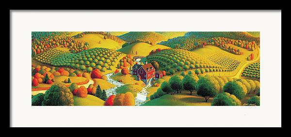 Fall Panorama Framed Print featuring the painting The Cider Mill by Robin Moline