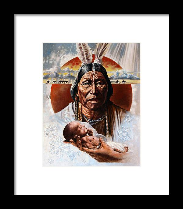American Native Framed Print featuring the painting The Circle Of Life by John Lautermilch